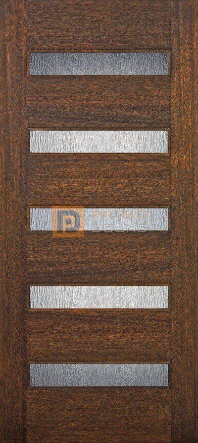 """6' 8"""" 5 Lite Contemporary Mahogany Wood Door - PD 3068 C5LT"""