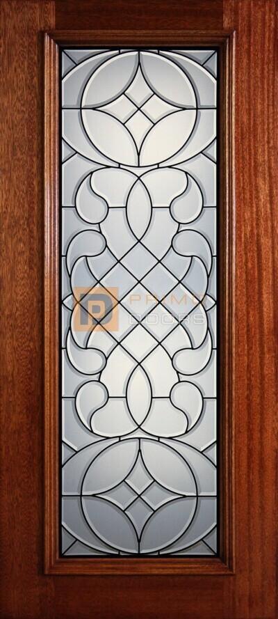 """6' 8"""" Full Lite Decorative Glass Mahogany Wood Front Door - PD 3068-FL HARV"""
