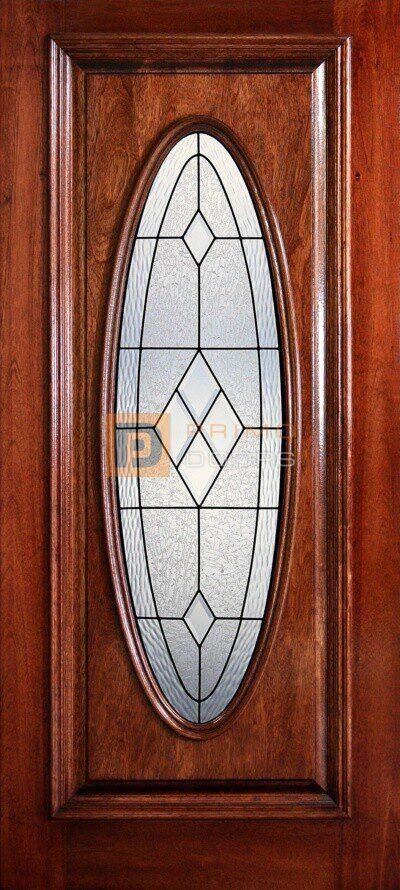 "6' 8"" Full Oval Lite Decorative Glass Mahogany Wood Door - PD 3068-FO AUST"