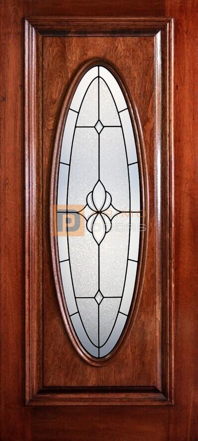 "6' 8"" Full Oval Lite Decorative Glass Mahogany Wood Door - PD 3068-FO CARL"