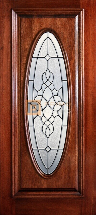 "6' 8"" Full Oval Lite Decorative Glass Mahogany Wood Door - PD 3068-FO COMA"