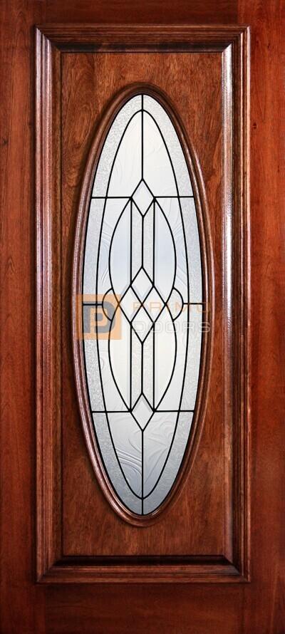 "6' 8"" Full Oval Lite Decorative Glass Mahogany Wood Door - PD 3068-FO PAYT"
