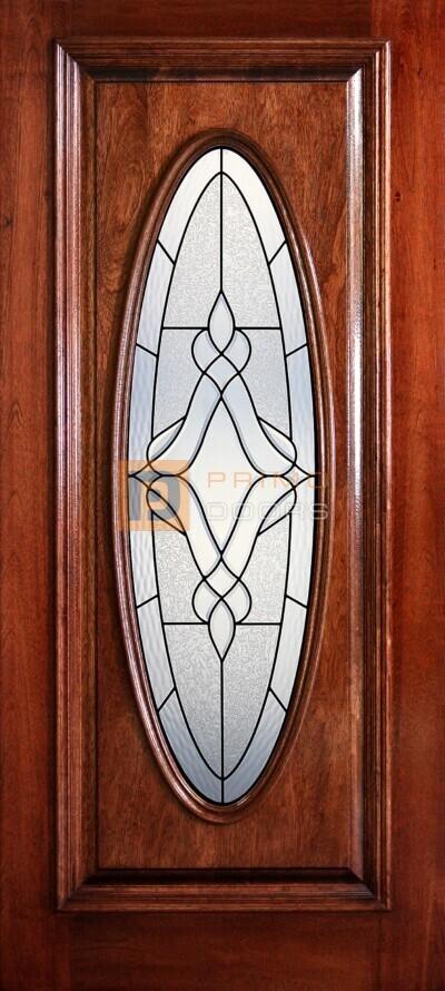 "6' 8"" Full Oval Lite Decorative Glass Mahogany Wood Door - PD 3068-FO TRIN"