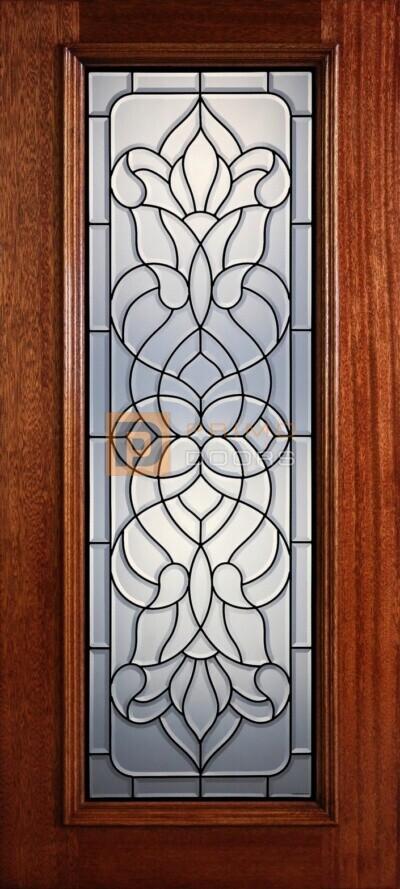 """6' 8"""" Full Lite Decorative Glass Mahogany Wood Front Door - PD 306L CB"""