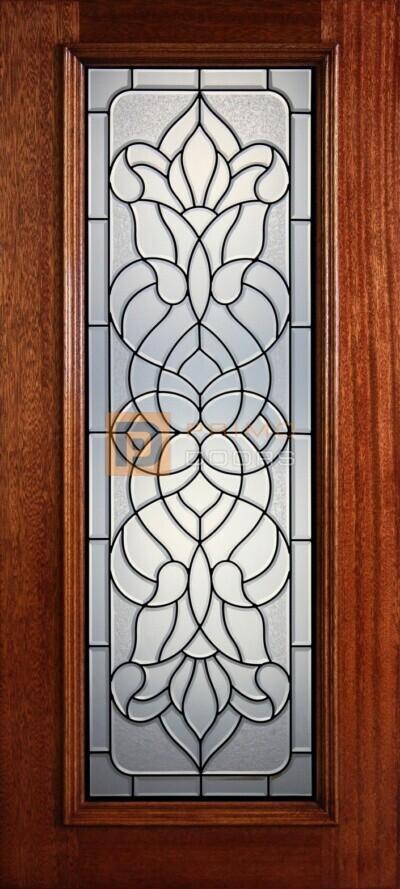 """6' 8"""" Full Lite Decorative Glass Mahogany Wood Front Door - PD 306L CBGCB"""