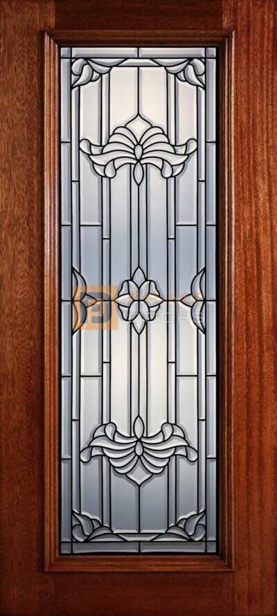 """6' 8"""" Full Lite Decorative Glass Mahogany Wood Front Door - PD 307L CB"""