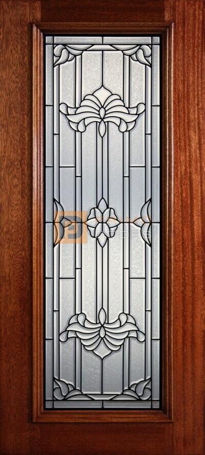 """6' 8"""" Full Lite Decorative Glass Mahogany Wood Front Door - PD 307L CBGCB"""