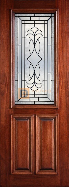 8' 2/3 Lite Decorative Glass Mahogany Front Door - PD 3080-12 CROC
