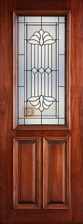 8′ 2/3 Lite Decorative Glass Mahogany Single Front Door – PD 3080-12 DELT