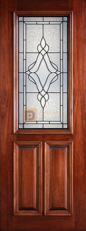 8′ 2/3 Lite Decorative Glass Mahogany Front Door – PD 3080-12 TRIN