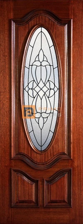 "6' 8"" 1/2 Oval Lite Decorative Glass Mahogany Wood Door - PD 3080-12OD BLAN"