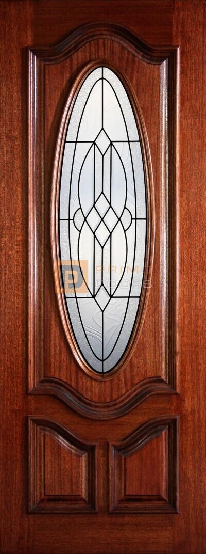 8' 1/2 Oval Lite Decorative Glass Mahogany Single Wood Door - PD 3080-12OD MEDI
