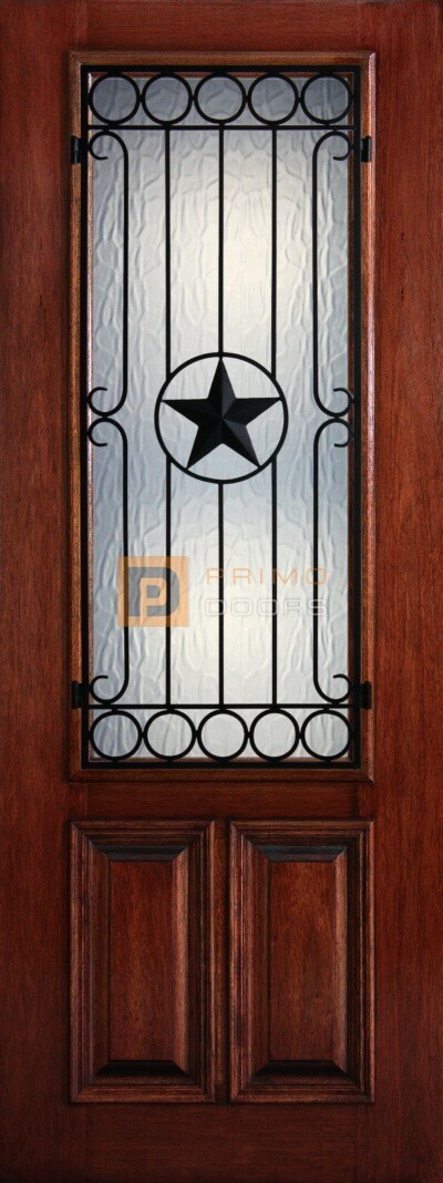 8′ 2/3 Lite Decorative Glass with Iron Grill - Mahogany Single Front Door – PD 3080-23 AVIG