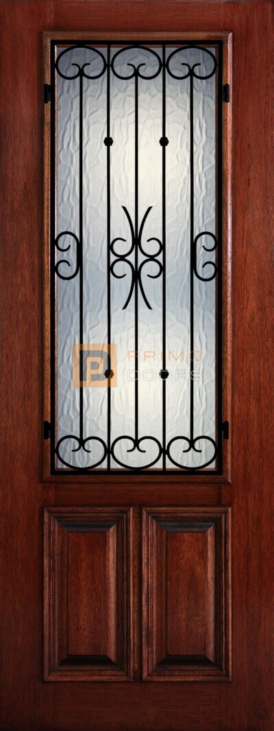 8′ 2/3 Lite Decorative Glass with Iron Grill - Mahogany Single Front Door – PD 3080-23 BALF