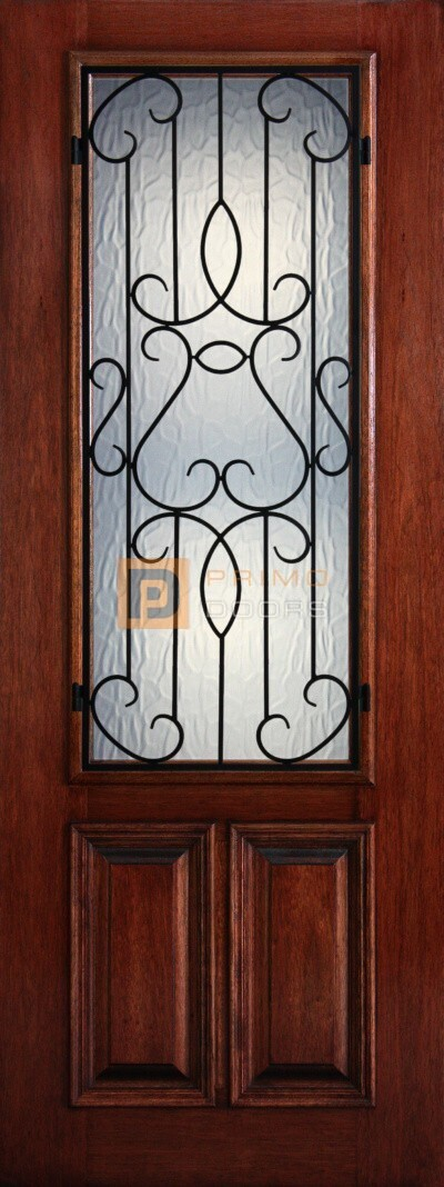 8′ 2/3 Lite Decorative Glass with Iron Grill - Mahogany Single Front Door – PD 3080-23 BARC