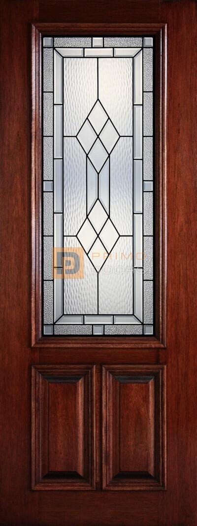 8′ 2/3 Lite Decorative Glass Mahogany Front Door – PD 3080-23 HAMI