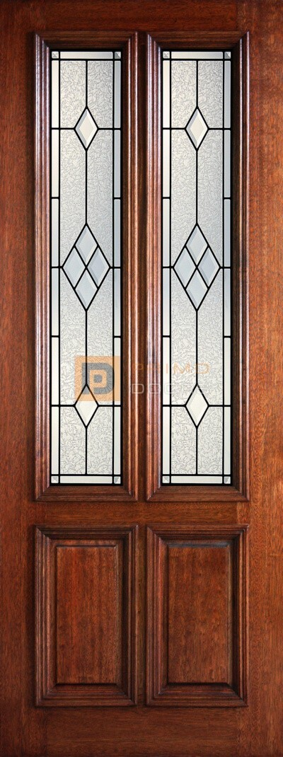 8′ 2/3 Twin Lite Decorative Glass with Iron Grill - Mahogany Single Front Door – PD 3080-23TL AUST