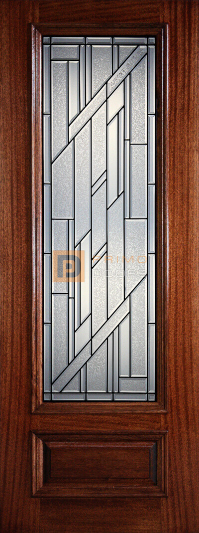 8′ 3/4 Lite Decorative Glass - Mahogany Single Front Door – PD 3080-34 COLU