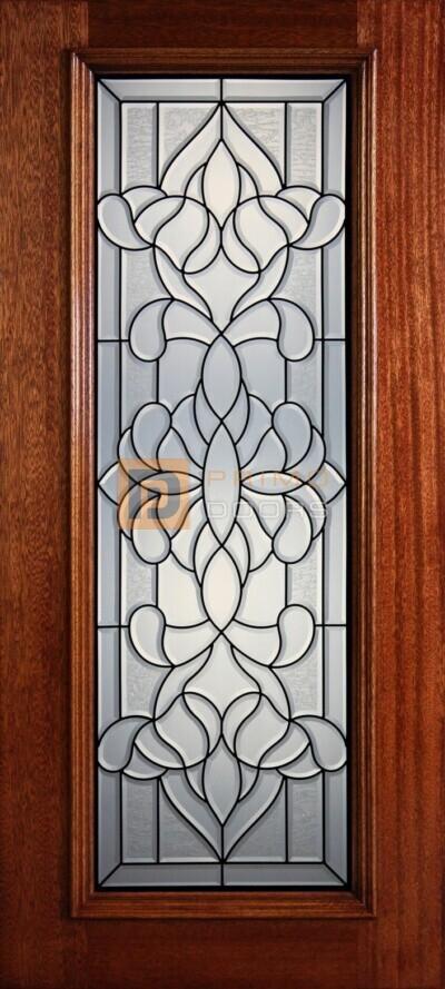 """6' 8"""" Full Lite Decorative Glass Mahogany Wood Front Door - PD 308L CBGCB"""