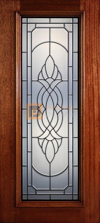 """6' 8"""" Full Lite Decorative Glass Mahogany Wood Front Door - PD 309L CB"""