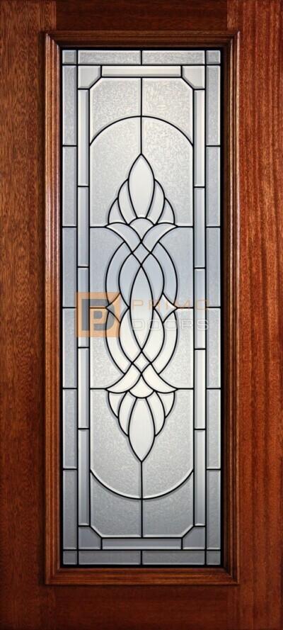 """6' 8"""" Full Lite Decorative Glass Mahogany Wood Front Door - PD 309L CBGCB"""