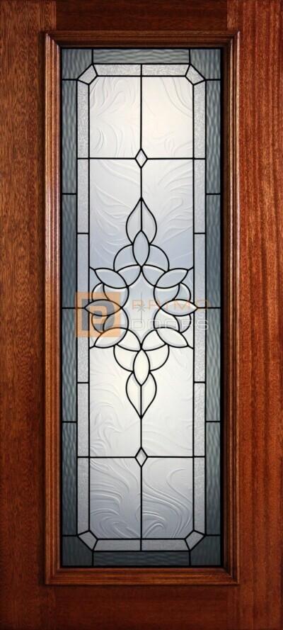 """6' 8"""" Full Lite Decorative Glass Mahogany Wood Front Door - PD 31 CBGCBAGW"""