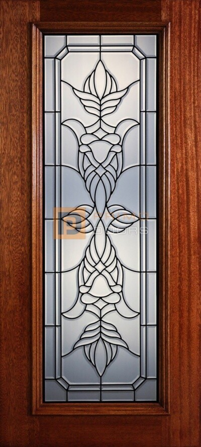 """6' 8"""" Full Lite Decorative Glass Mahogany Wood Front Door - PD 310L CB"""