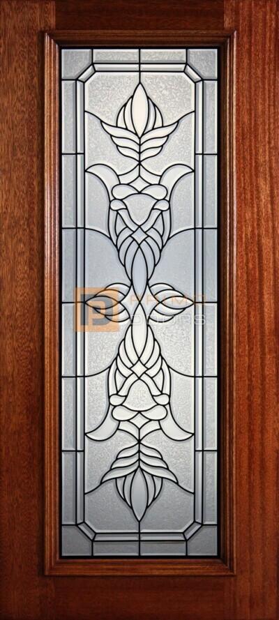 """6' 8"""" Full Lite Decorative Glass Mahogany Wood Front Door - PD 310L CBGCB"""