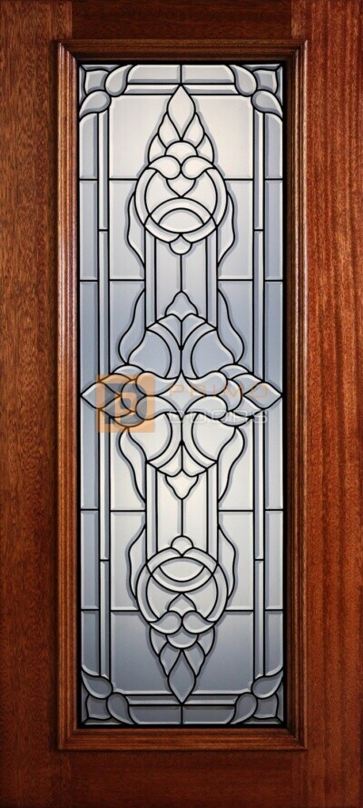 """6' 8"""" Full Lite Decorative Glass Mahogany Wood Front Door - PD 311L CB"""