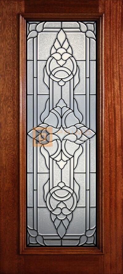 """6' 8"""" Full Lite Decorative Glass Mahogany Wood Front Door - PD 311L CBGCB"""