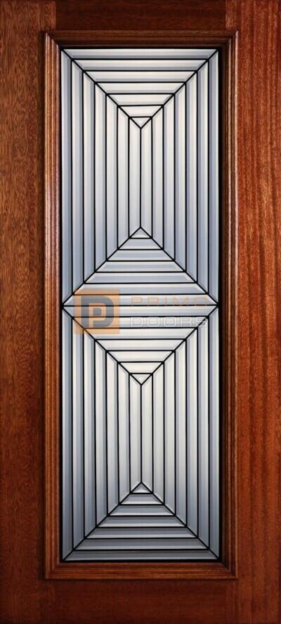 """6' 8"""" Full Lite Decorative Glass Mahogany Wood Front Door - PD 312L CB"""