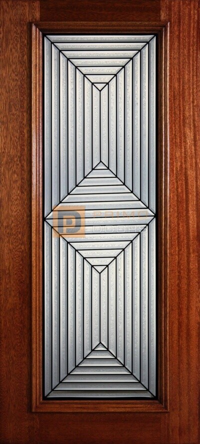 """6' 8"""" Full Lite Decorative Glass Mahogany Wood Front Door - PD 312L CBGCB"""
