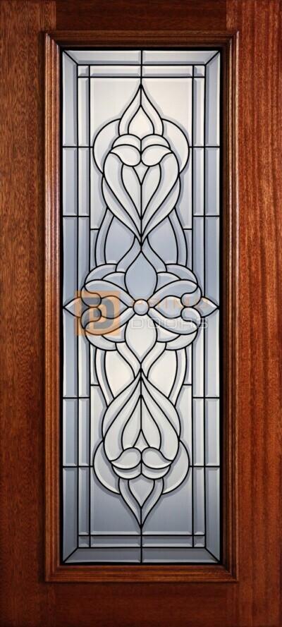 """6' 8"""" Full Lite Decorative Glass Mahogany Wood Front Door - PD 313L CB"""