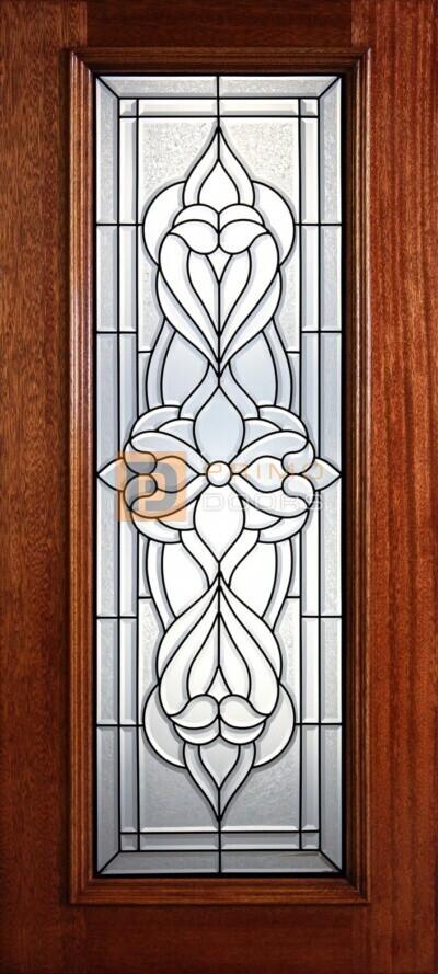 """6' 8"""" Full Lite Decorative Glass Mahogany Wood Front Door - PD 313L CBGCB"""