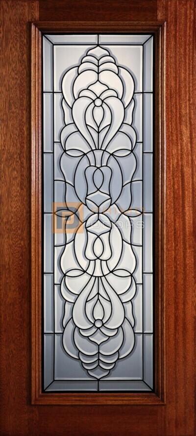 """6' 8"""" Full Lite Decorative Glass Mahogany Wood Front Door - PD 314L CB"""