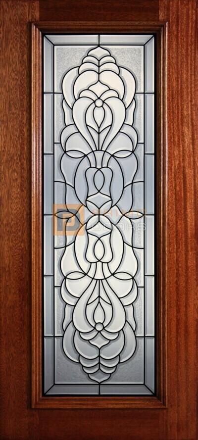 """6' 8"""" Full Lite Decorative Glass Mahogany Wood Front Door - PD 314L CBGCB"""