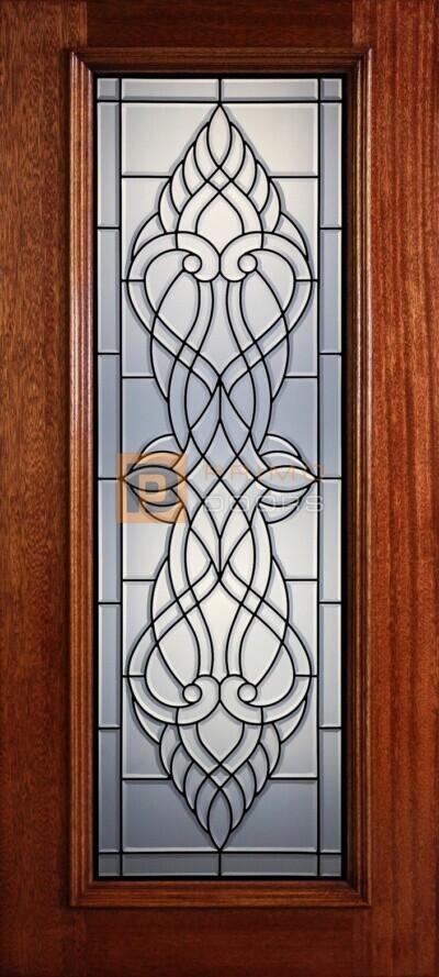 """6' 8"""" Full Lite Decorative Glass Mahogany Wood Front Door - PD 315L CB"""