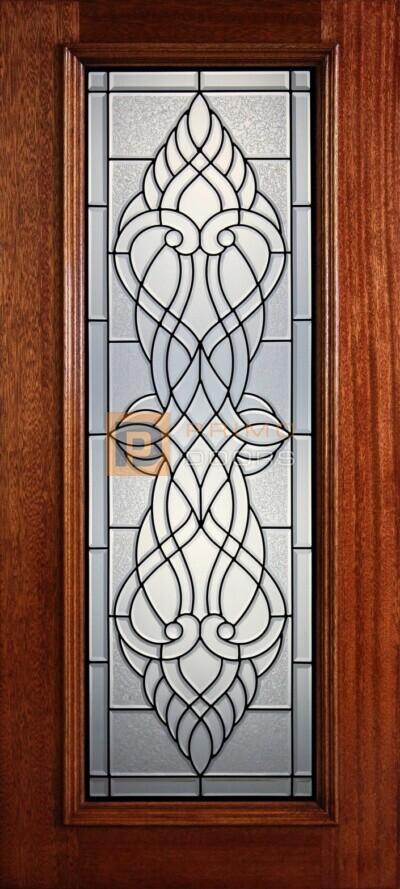 """6' 8"""" Full Lite Decorative Glass Mahogany Wood Front Door - PD 315L CBGCB"""