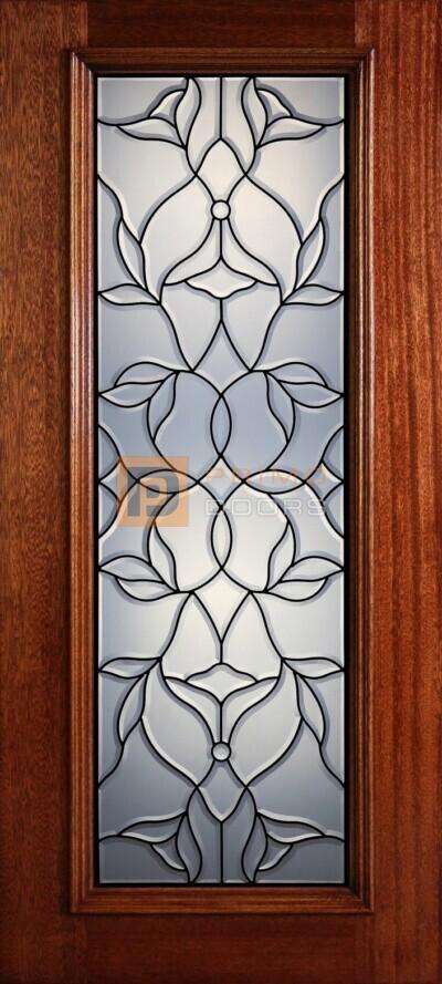 """6' 8"""" Full Lite Decorative Glass Mahogany Wood Front Door - PD 316L CB"""