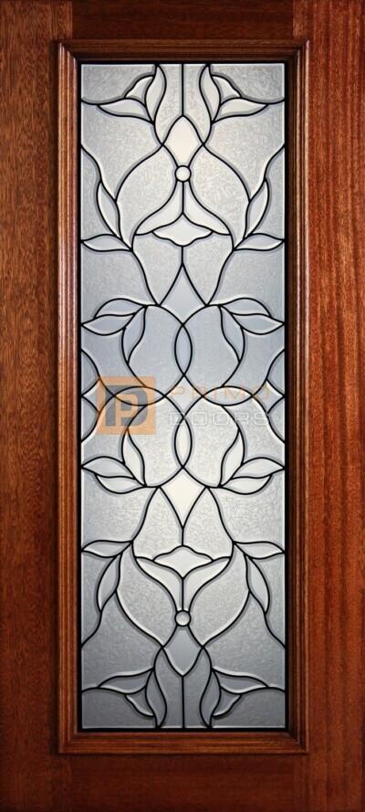 """6' 8"""" Full Lite Decorative Glass Mahogany Wood Front Door - PD 316L CBGCB"""