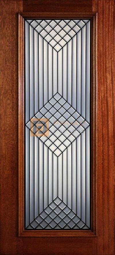 """6' 8"""" Full Lite Decorative Glass Mahogany Wood Front Door - PD 317L CB"""