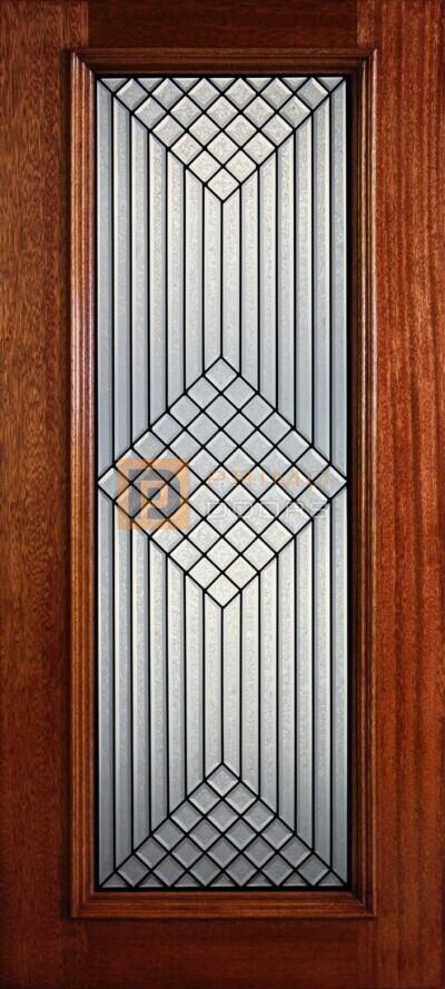 """6' 8"""" Full Lite Decorative Glass Mahogany Wood Front Door - PD 317L GCB"""
