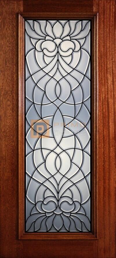 """6' 8"""" Full Lite Decorative Glass Mahogany Wood Front Door - PD 318L CB"""