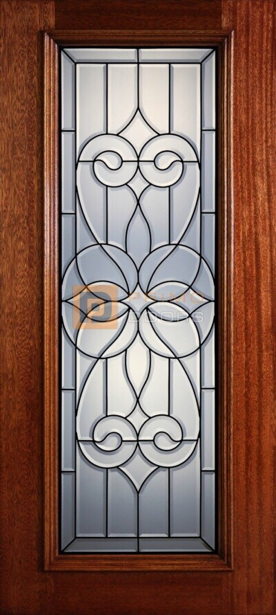 """6' 8"""" Full Lite Decorative Glass Mahogany Wood Front Door - PD 319L CB"""