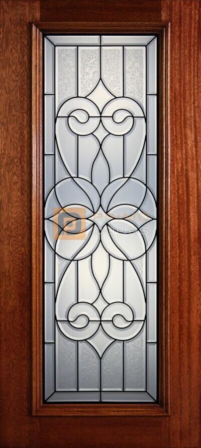 """6' 8"""" Full Lite Decorative Glass Mahogany Wood Front Door - PD 319L CBGCB"""