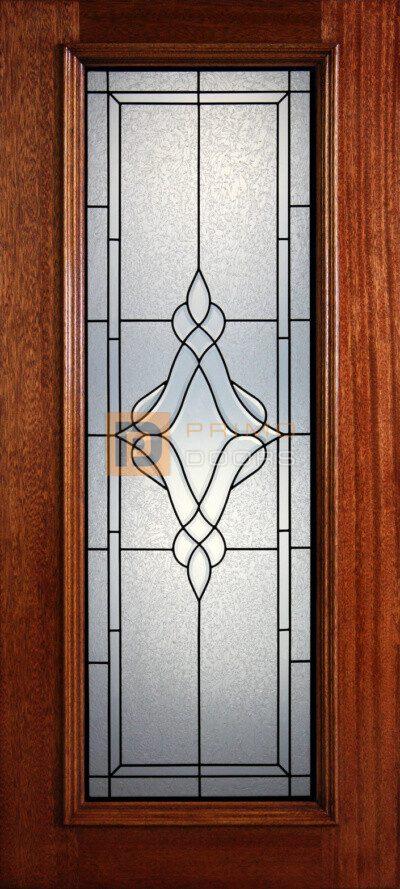 """6' 8"""" Full Lite Decorative Glass Mahogany Wood Front Door - PD 32 CBGC"""