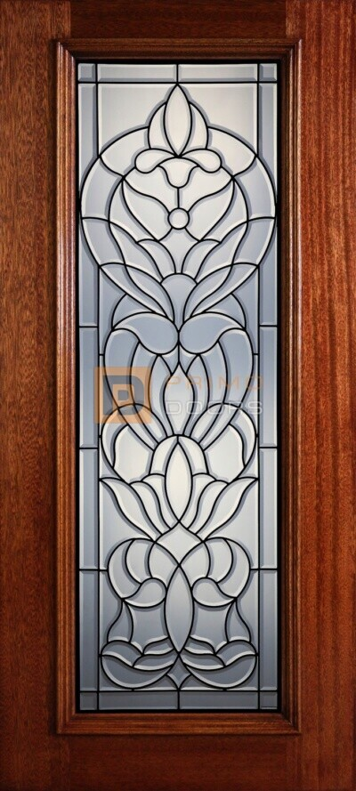 """6' 8"""" Full Lite Decorative Glass Mahogany Wood Front Door - PD 320L CB"""