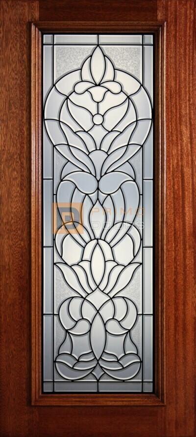 """6' 8"""" Full Lite Decorative Glass Mahogany Wood Front Door - PD 320L CBGCB"""
