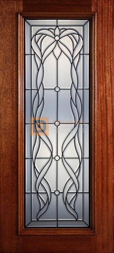 """6' 8"""" Full Lite Decorative Glass Mahogany Wood Front Door - PD 321L CB"""