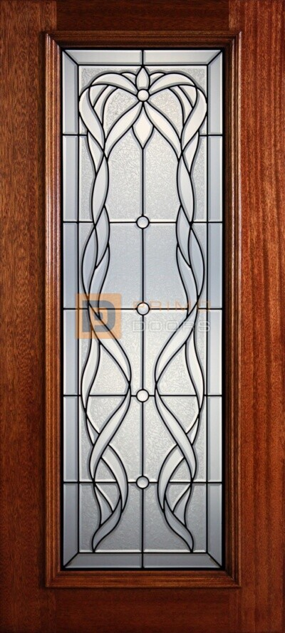 """6' 8"""" Full Lite Decorative Glass Mahogany Wood Front Door - PD 321L CBGCB"""
